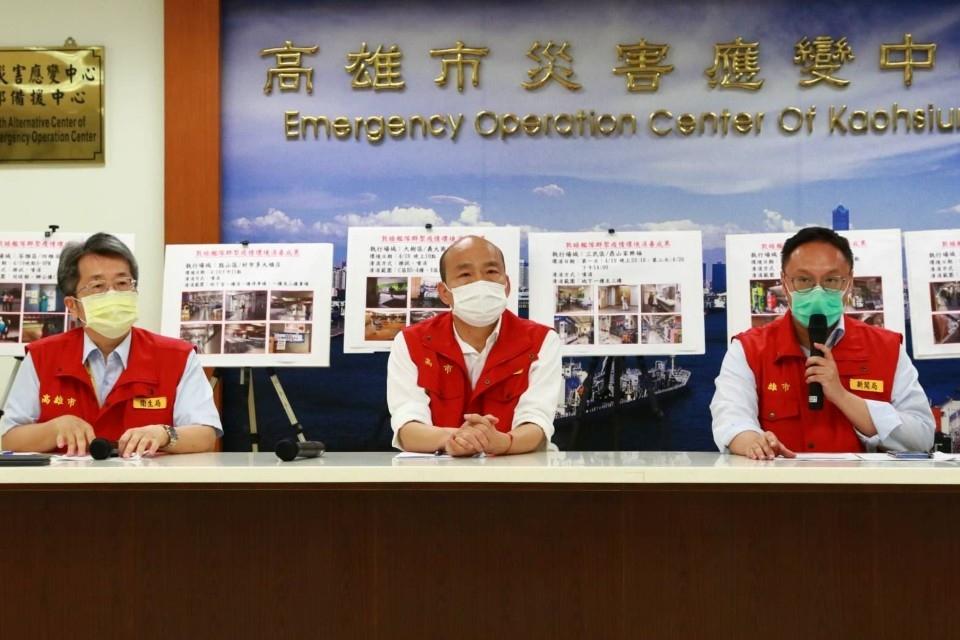 海軍艦隊爆發疫情 韓國瑜籲軍方提供完整檢疫監測管理與疫情訊息。(記者劉明吉翻攝)