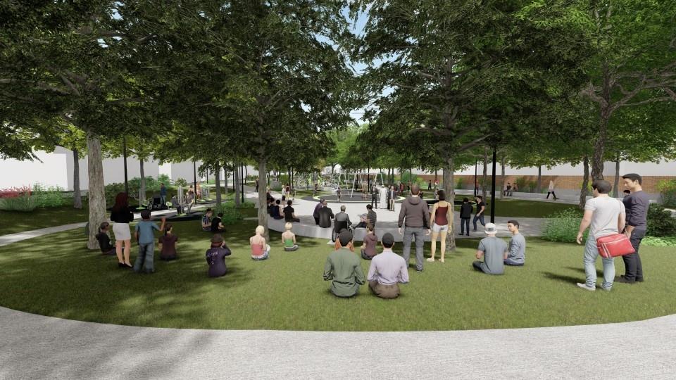 大里23闢共融公園-活動廣場3d模擬。(記者林志強翻攝)