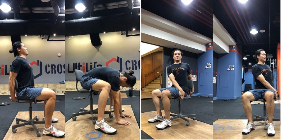 「脊柱伸展」、「脊柱扭轉」(張世昕教練示範,CROSSFIT UltiLife拍攝提供)。(記者張光雄翻攝)