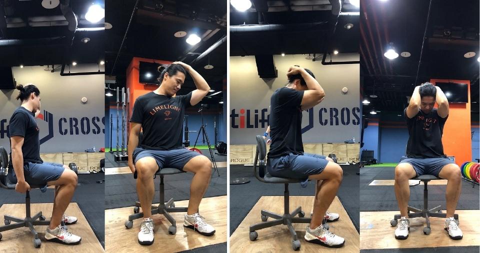 斜方肌伸展(張世昕教練示範,CROSSFIT UltiLife拍攝提供)。(記者張光雄翻攝)