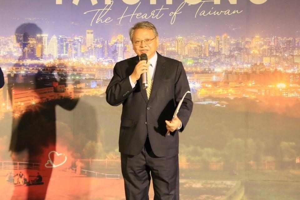 副市長令狐榮達出席力挺台中城市觀光行銷影片暨觀光專書發佈會。(記者張越安翻攝)