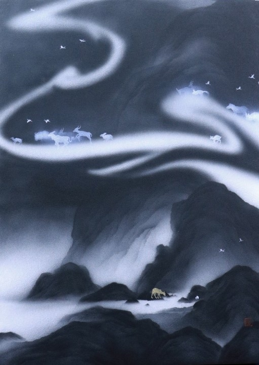 藝術家呂浩維作品《返山日記+長板No.01》。(特約記者林有定翻攝)