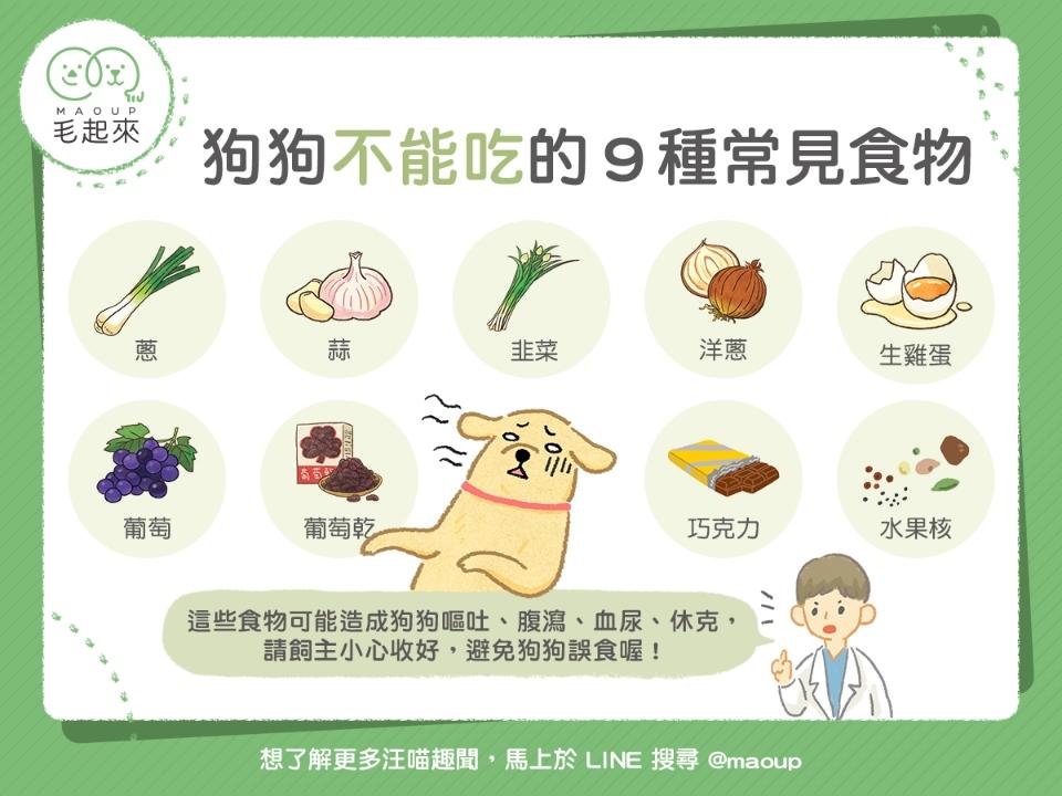 生活中毛寶貝不能吃的食物,毛爸毛媽們需要多注意。(圖片來源臉書+毛起來MAOUP)
