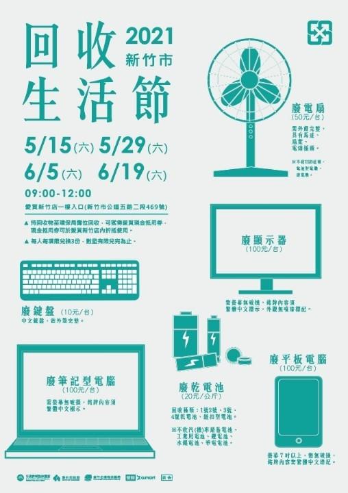 新竹市「回收生活節」4月26日起跑 資源物兌換最高100元現金抵用券。(記者張如慧翻攝).jpg