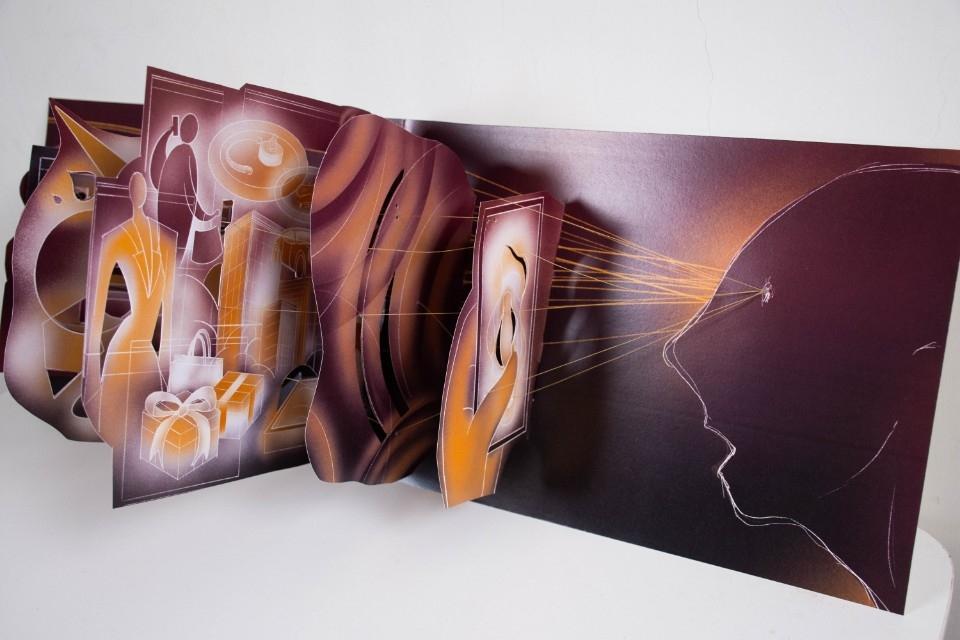 435立體書藝術家《目光-賴冠傑創作個展》 一線一目光 牽動靈魂與身軀。(特約記者林有定翻攝).jpg