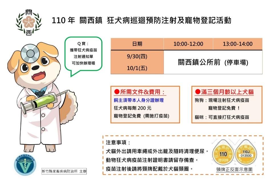 狂犬病巡迴預防注射及寵物登記活動-關西鎮。(記者張如慧翻攝).jpg